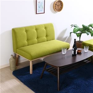 その他 北欧風 ダイニングソファー/食卓椅子 2P 【グリーン】 幅1025mm 木製 ファブリック地 『Natural Signature ヘームル』 〔店舗〕【代引不可】 ds-2262060