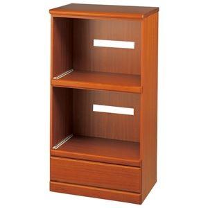 その他 天然木コンパクト食器棚シリーズ 『家電収納』 ライトブラウン ds-2263465