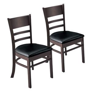 その他 ダイニングチェア/食卓椅子 2脚組 【ブラック】 幅45cm 木製脚付き 合成皮革/合皮 ウレタン 〔リビング〕 ds-2263452