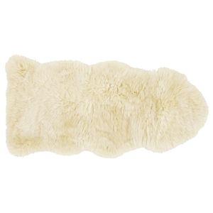 その他 ニュージーランド産 天然ムートンの1.5匹 ラグマット 【約60×130cm ベージュ】 表面:羊毛皮100% 吸水性 放湿性 『M-511-F』 ds-2271251