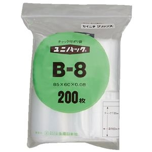 その他 (まとめ)生産日本社 ユニパックチャックポリ袋85*60 200枚 B-8(×30セット) ds-2278726