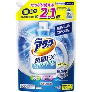 その他 (まとめ)花王 アタック抗菌EXスーパークリアジェル つめかえ用 超特大 1.6kg 1セット(6個)【×3セット】 ds-2311732