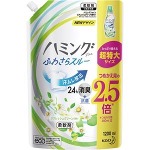 その他 (まとめ)花王 ハミングファインリフレッシュグリーンの香り 詰替用 特大 1200ml 1個【×10セット】 ds-2300853