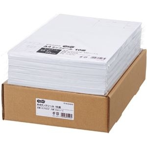 その他 TANOSEE A4タックシール業務用パック 10面 105×59.4mm 1箱(500シート:100シート×5冊) ds-2290557