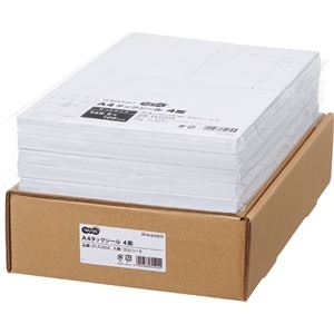 その他 TANOSEE A4タックシール業務用パック 4面 105×148.5mm 1箱(500シート:100シート×5冊) ds-2290561
