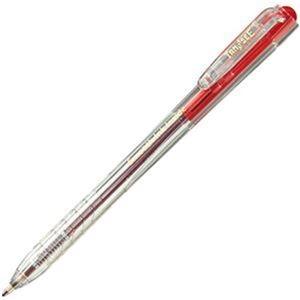 その他 (まとめ)TANOSEE ノック式なめらかインク油性ボールペン 0.7mm 赤(軸色:クリア)1パック(10本)【×50セット】 ds-2303671