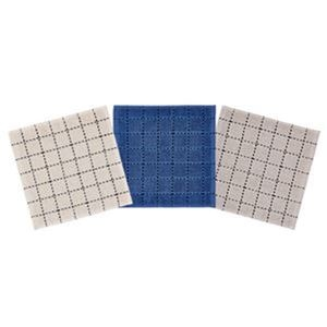 その他 (まとめ)オカザキ ミニハンカチタオルブロックステッチ柄 1パック(3枚)【×20セット】 ds-2305299