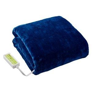 その他 洗えるあったか 電気掛敷毛布/寝具 【ブルー】 約幅188×奥行130cm 洗濯機対応 〔ベッドルーム 寝室〕 ds-2321658