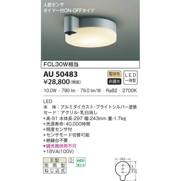 コイズミ LED防雨防湿型CL AU50483