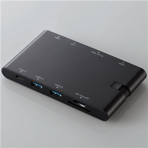 その他 エレコム USBType-Cドッキングステーション/PD/充電用Type-C1ポート/データ転送用Type-C1ポート/USB(3.0)2ポート/HDMI1ポート/D-sub1ポート/LANポート/SD+microSDスロット/ブラック DST-C05BK ds-2328749