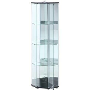 送料無料 その他 ガラスコレクションケース コーナー4段 スリム 幅55×奥行43.5×高さ162cm 代引不可 割引も実施中 ds-2337192 超激得SALE ライト付 ブラック