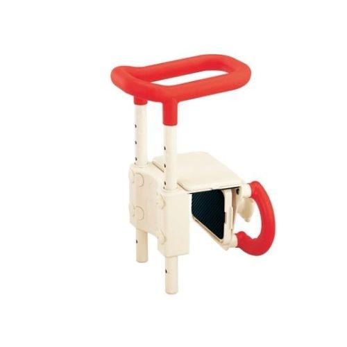 【送料無料】 高さ調節付浴槽手すり(安寿) レッド UST-130 0-3059-21
