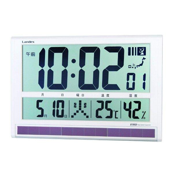 ランデックス 大きく見やすい電波時計 タイムゲート ホワイト LANDEX YW9088WH