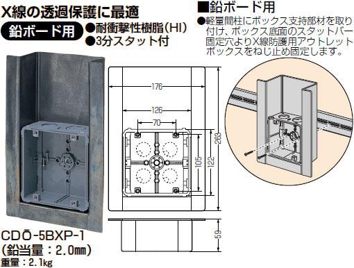 【ポイント最大23倍12/19~26エントリー必須】CDO-5BXP-1 未来工業 X線防護用アウトレットボックス