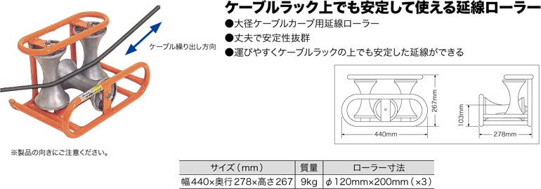 CR-540 ジェフコム コーナーケーブルローラー(ローラーφ120×200mm)
