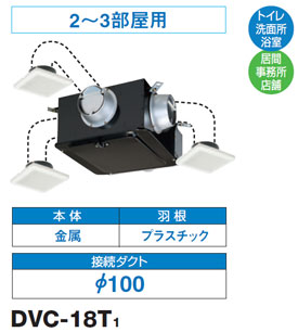 DVC-18T1 東芝 中間ダクトファン(2~3部屋用)