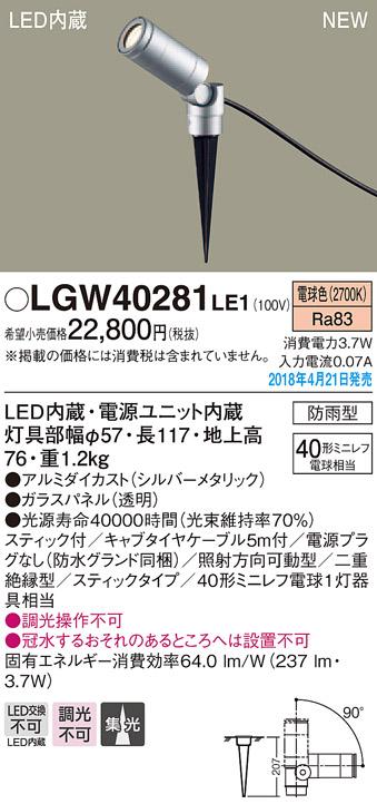 【ポイント最大23倍5/20エントリー必須】LGW40281LE1 パナソニック LEDスポットライト[スティックタイプ](電源プラグなし、3.7W、電球色)