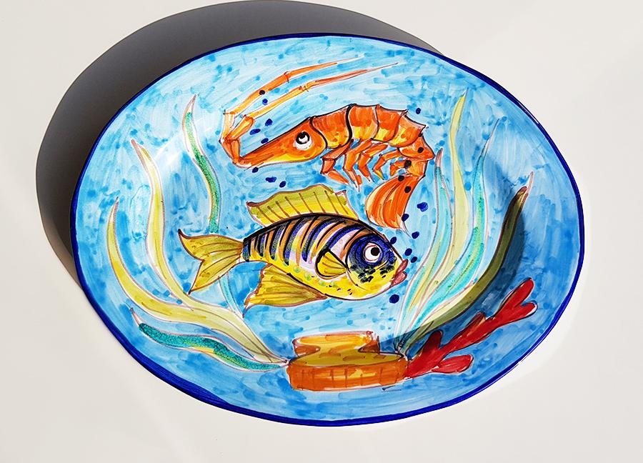 【皿以外同梱不可】展示用陶器 楕円 大皿 38x28cm FANTASY A