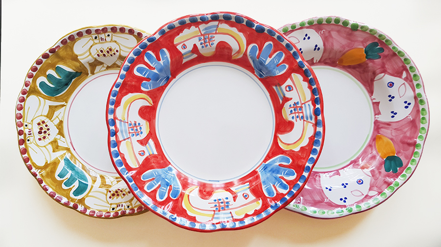 【皿以外同梱不可】【送料無料】展示用陶器 円形背景深皿 23cm 3枚セット