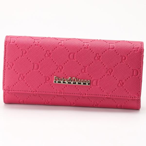 ピンキーアンドダイアン(pinky and dianne)長財布 かぶせ サフィアーノエンボス ピンク
