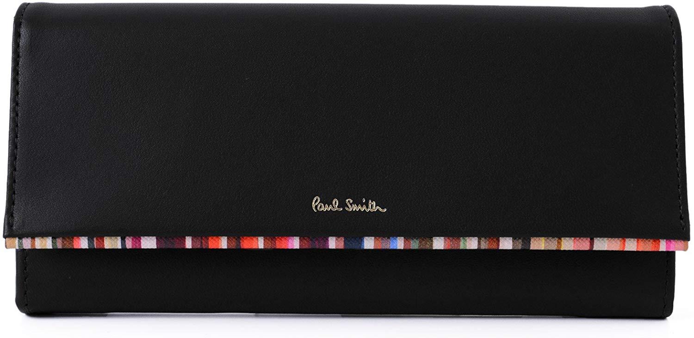 ポールスミス(paul smith) 長財布 (レディース)ブラック クロスオーバストライプトリム