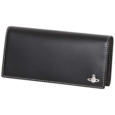 ヴィヴィアンウエストウッド (Vivienne Westwood)長財布 かぶせ コントラストステッチ ブラック メンズ