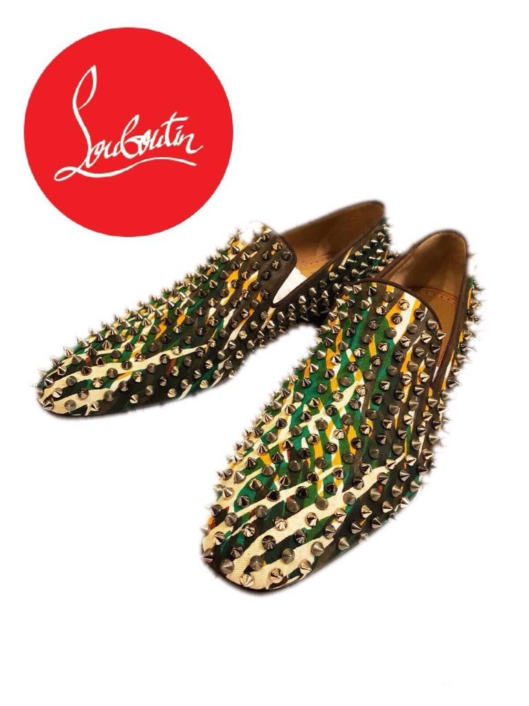 新品 未使用 2017ss 新作 ルブタン Dandelion Spikes Canevas Jungle メタルスタッズ クリスチャンルブタン CHRISTIAN LOUBOUTIN 靴 スニーカー スリッポン