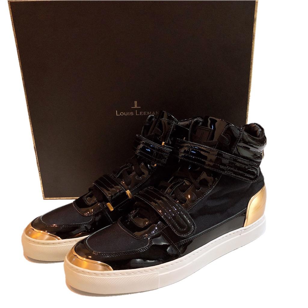 【新品】LOUIS LEEMAN ルイスリーマン LL0221 スニーカー 靴 ハイカット メンズ ブラック ゴールド 39 25cm 展示品 正規品