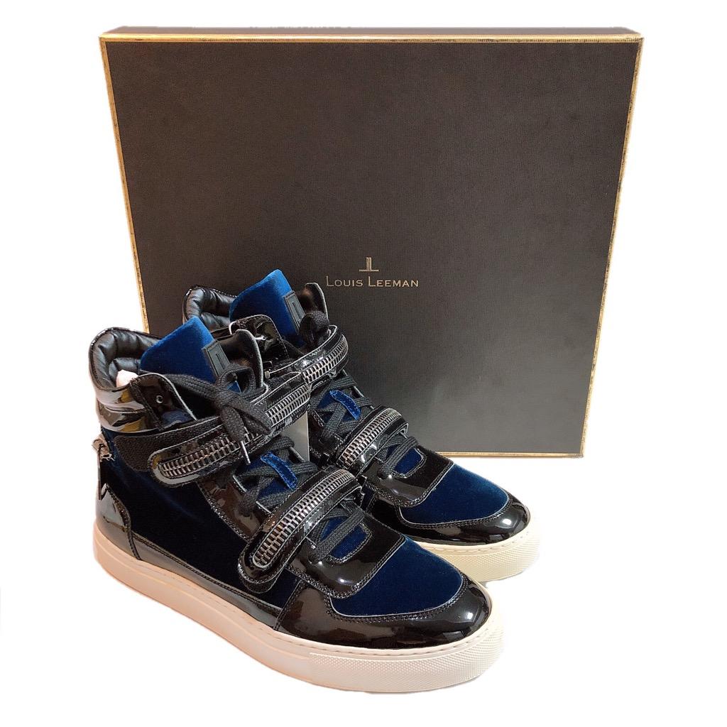 【新品】LOUIS LEEMAN ルイスリーマン LL0151 スニーカー 靴 メンズ ハイカット ブラック ブルー 40 25.5cm 展示品 正規品