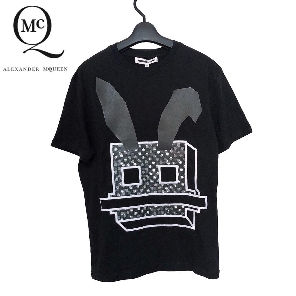 【新品】確実正規品 McQ アレキサンダー マックイーン ラビット プリント Tシャツ ブラック 黒 レディース
