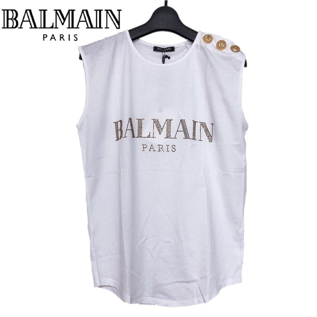 【新品】確実正規品 BALMAIN バルマン ロゴ タンクトップ ホワイト 白 レディース