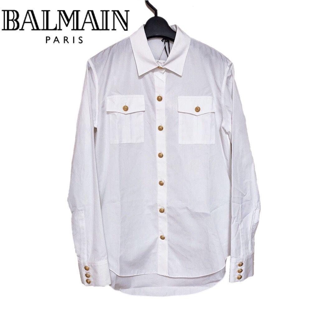 【新品】確実正規品 BALMAIN バルマン ゴールドボタン ポムリンシャツ コットンシャツ シャツ ホワイト 白 レディース