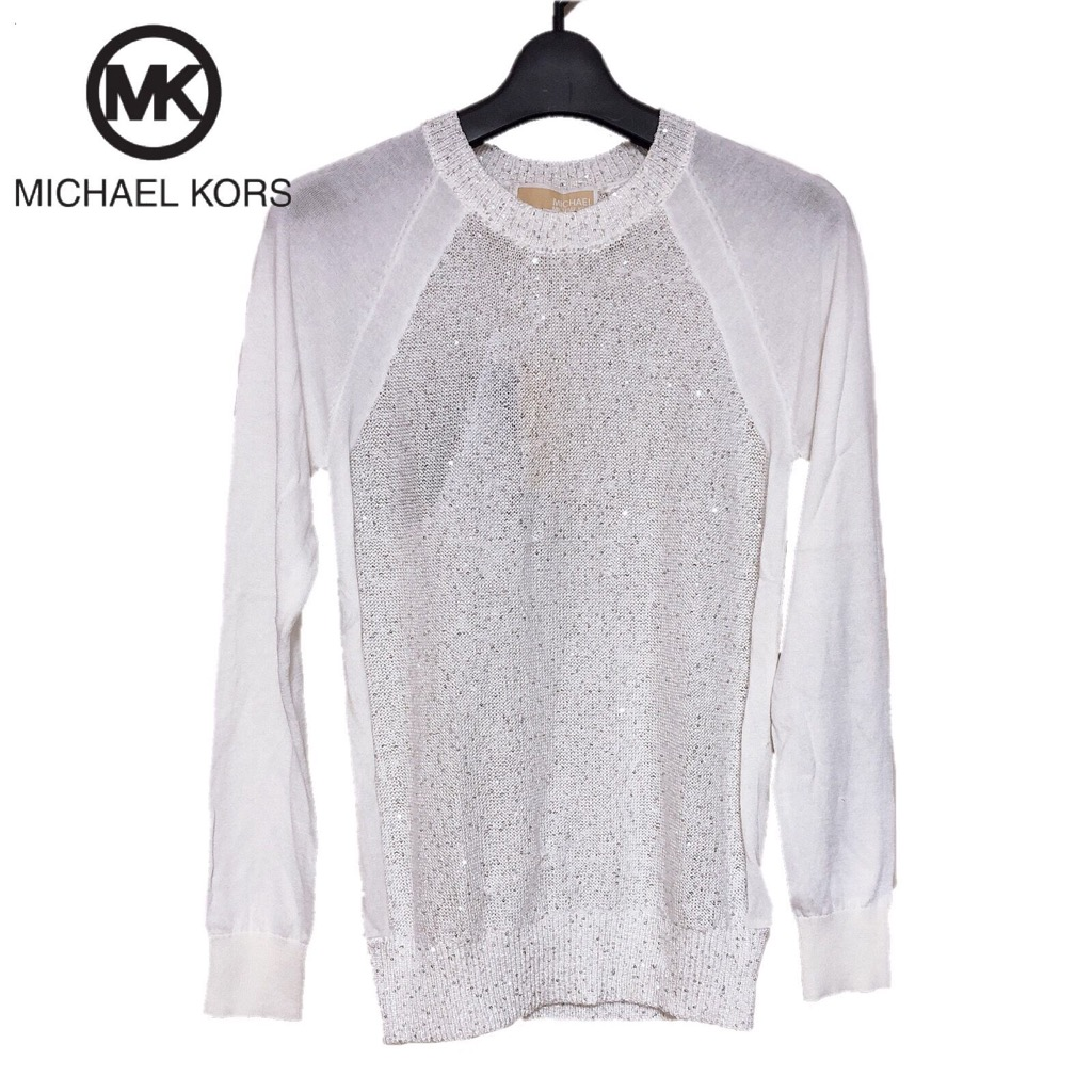 【新品】確実正規品 MICHAEL KORS マイケルコース スパンコール ニット セーター ホワイト 白 レディース