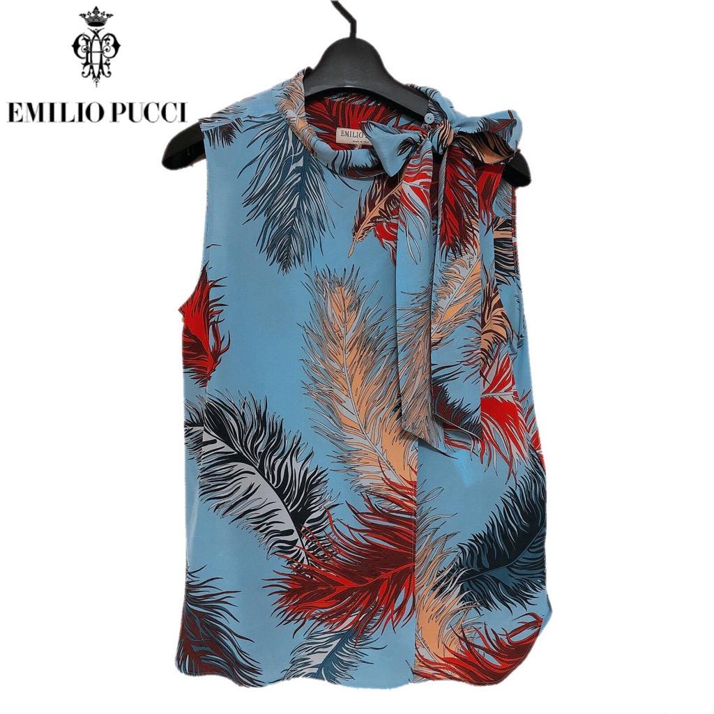 【新品】確実正規品 Emilio Pucci エミリオプッチ 羽柄 ブラウス 水色 ブルー レディース