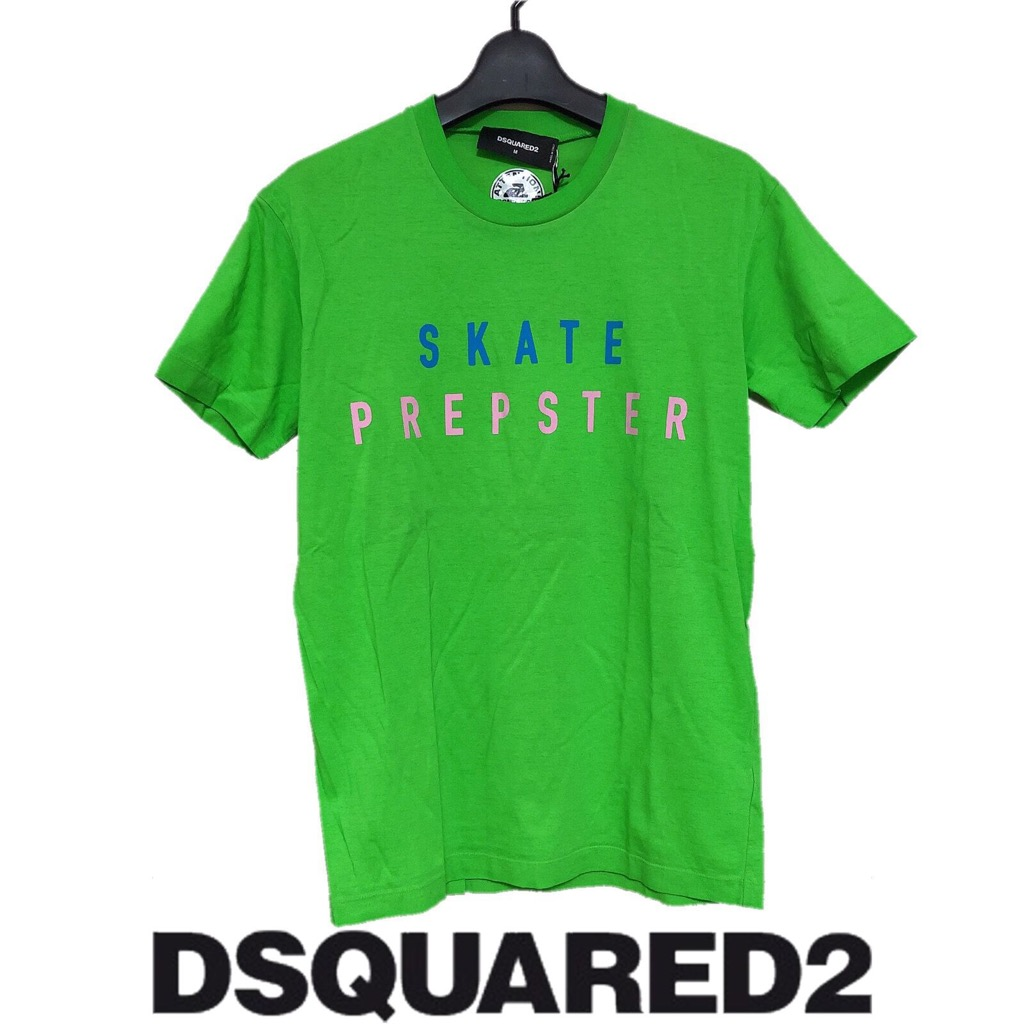 【新品】確実正規品 DSQUARED2 ディースクエアード プリント Tシャツ グリーン 緑 メンズ M