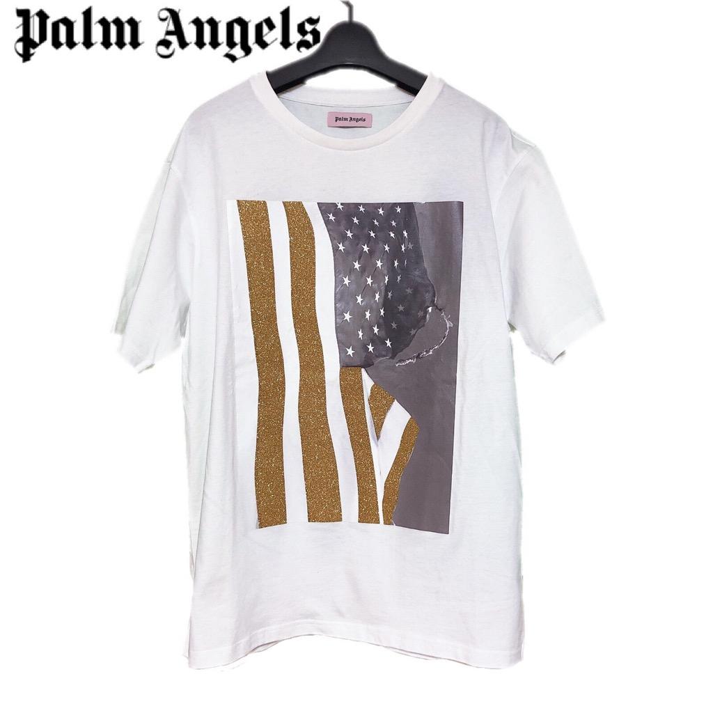 【新品】確実正規品 Palm Angels パームエンジェルス フォトプリント グリッター Tシャツ ホワイト 白 メンズ M