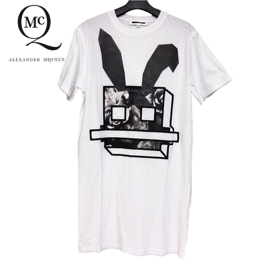 【新品】確実正規品 McQ アレキサンダー マックイーン ラビット プリント Tシャツ ワンピース ホワイト 白 レディース M