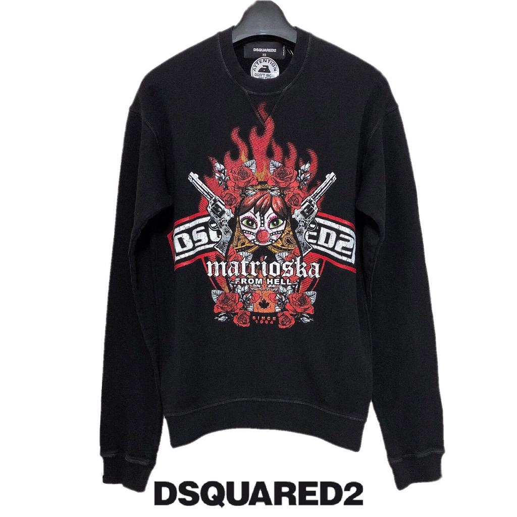 【新品】確実正規品 DSQUARED2 ディースクエアード トップス トレーナー ブラック 黒 メンズ XS