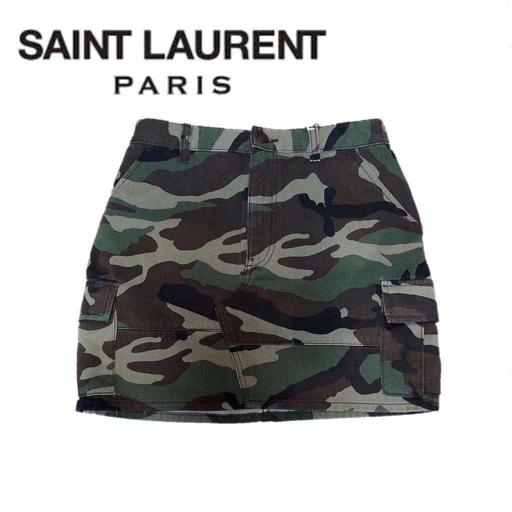 【新品】確実正規品 Saint Laurent サンローラン ミニスカート スカート 迷彩 レディース TG25 S