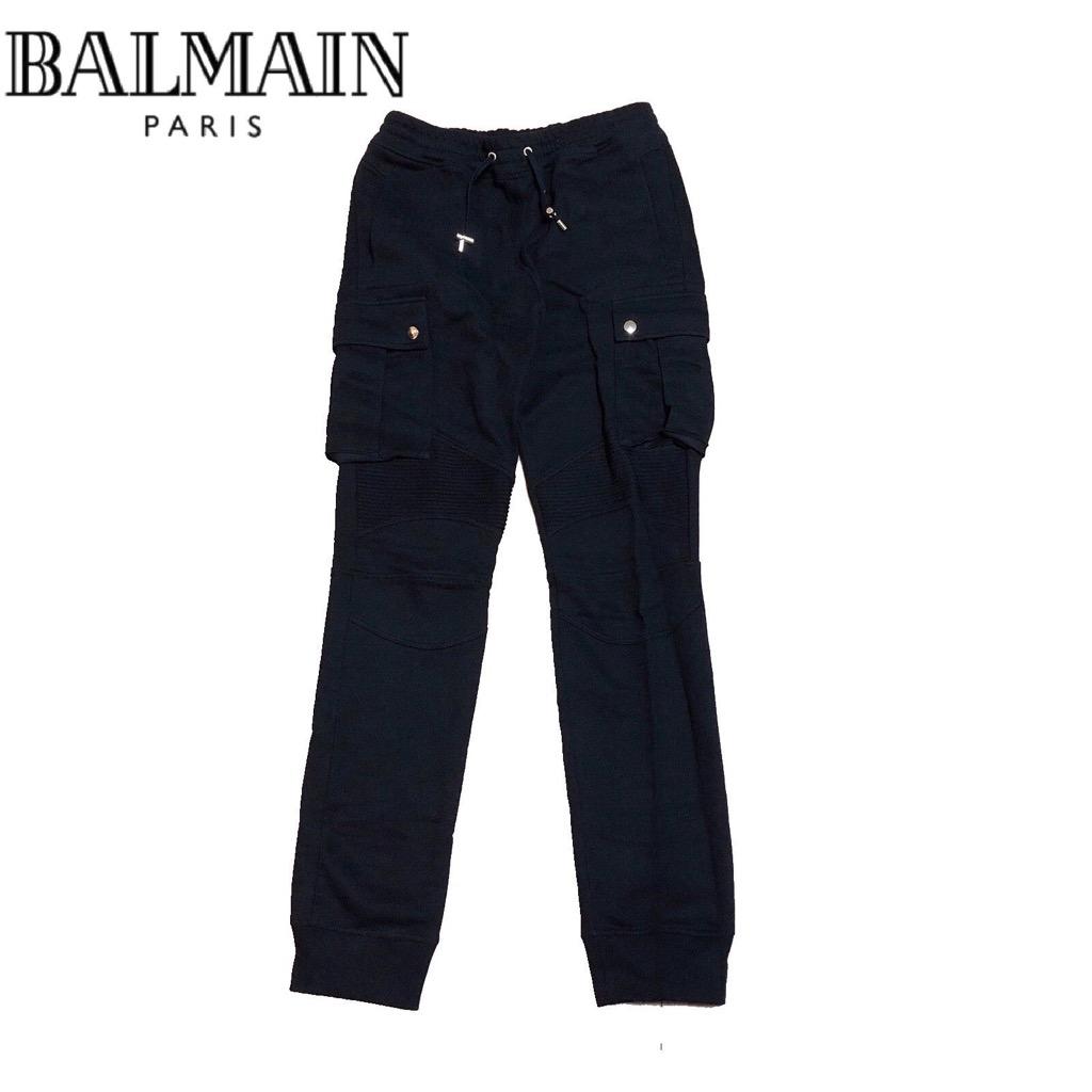 【新品】確実正規品 BALMAIN バルマン バイカー スウェット パンツ ブラック 黒 メンズ M