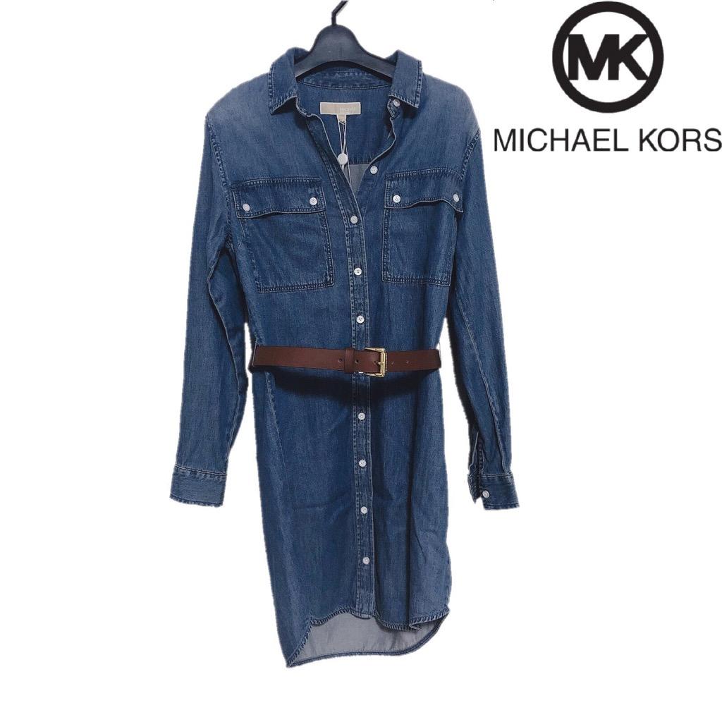 【新品】確実正規品 MICHAEL KORS マイケルコース デニムシャツ ワンピース ブルー 青 レディース Sサイズ