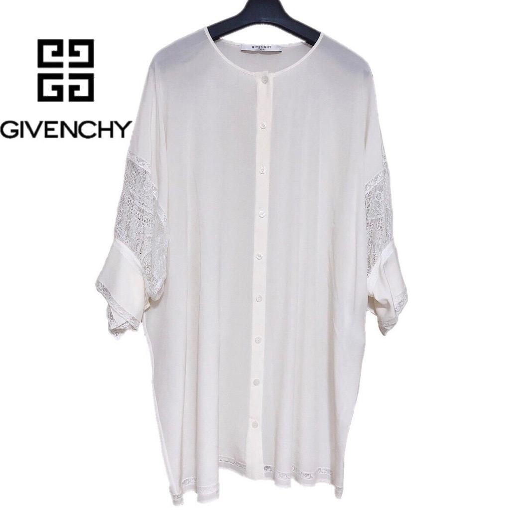 【新品】確実正規品 GIVENCHY  ジバンシー レース シャツ ワンピース ホワイト 白 レディース 38 Mサイズ