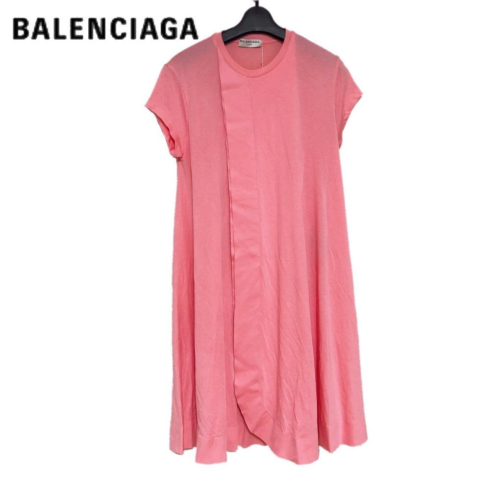 【新品】確実正規品 BALENCIAGA バレンシアガ Tシャツ ワンピース ピンク 桃  レディース XSサイズ