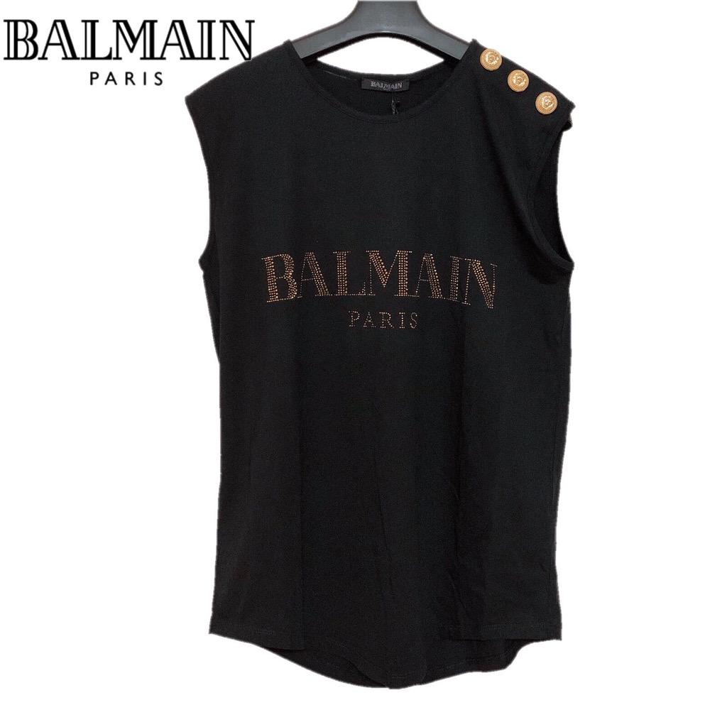 【新品】確実正規品 BALMAIN バルマン ロゴ タンクトップ ブラック 黒 レディース 36 S