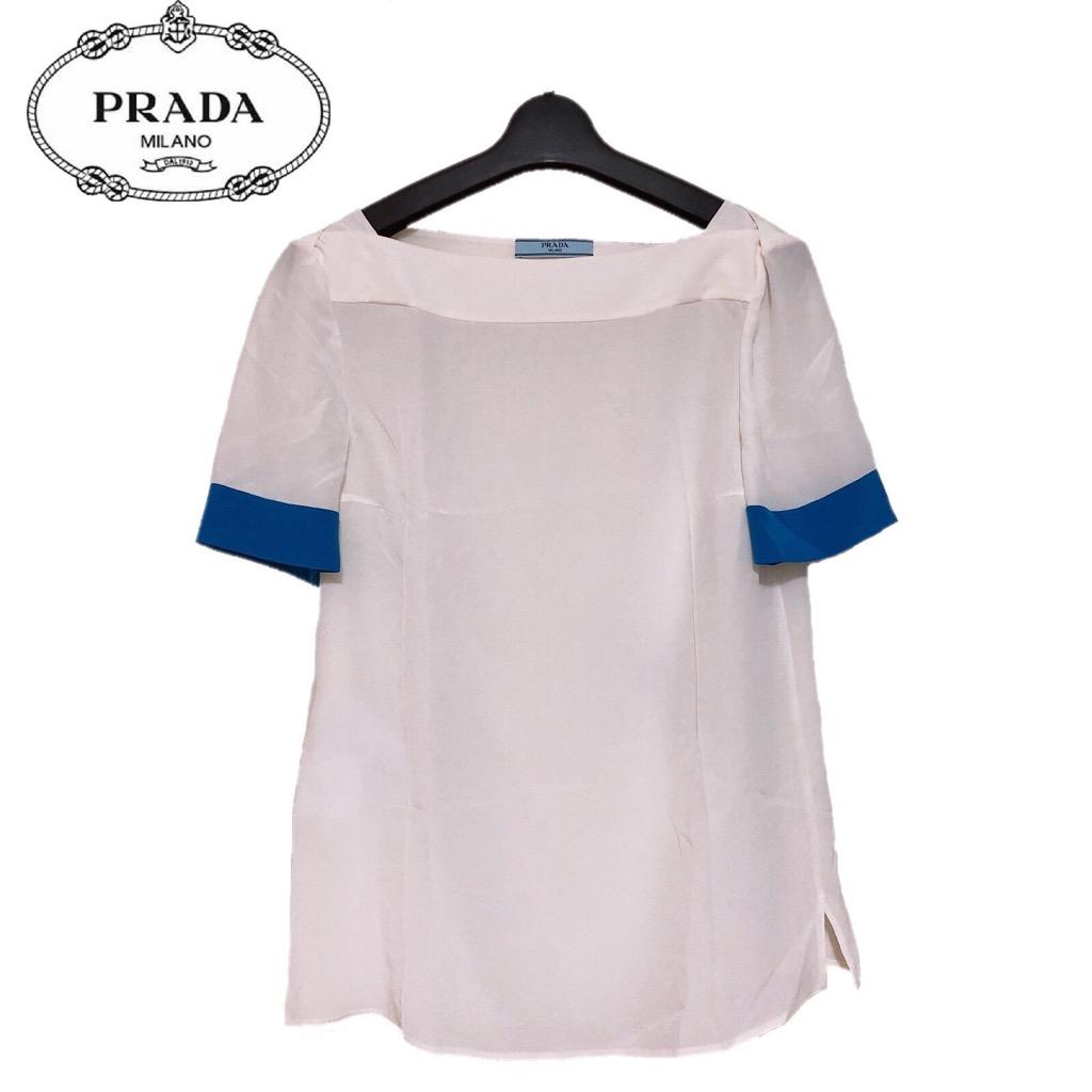 【新品】確実正規品 PRADA プラダ ブラウス シャツ ホワイト 白 レディース TG38 M