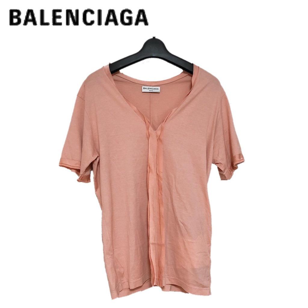 【新品】確実正規品 BALENCIAGA バレンシアガ Vネック リボン トップス ピンク 桃 半袖 レディース Sサイズ