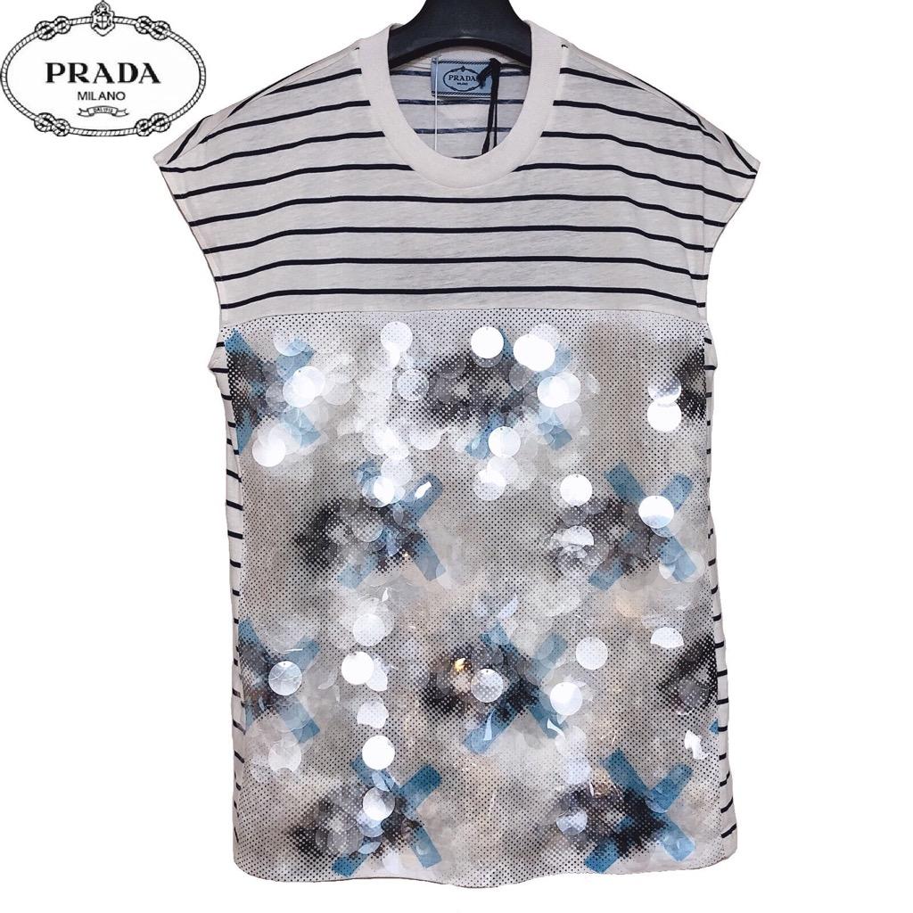 【新品】確実正規品 PRADA プラダ ストライプ スパンコール Tシャツ ブルー 青 レディース