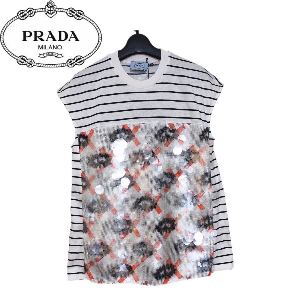 【新品】確実正規品 PRADA プラダ ストライプ スパンコール Tシャツ オレンジ レディース