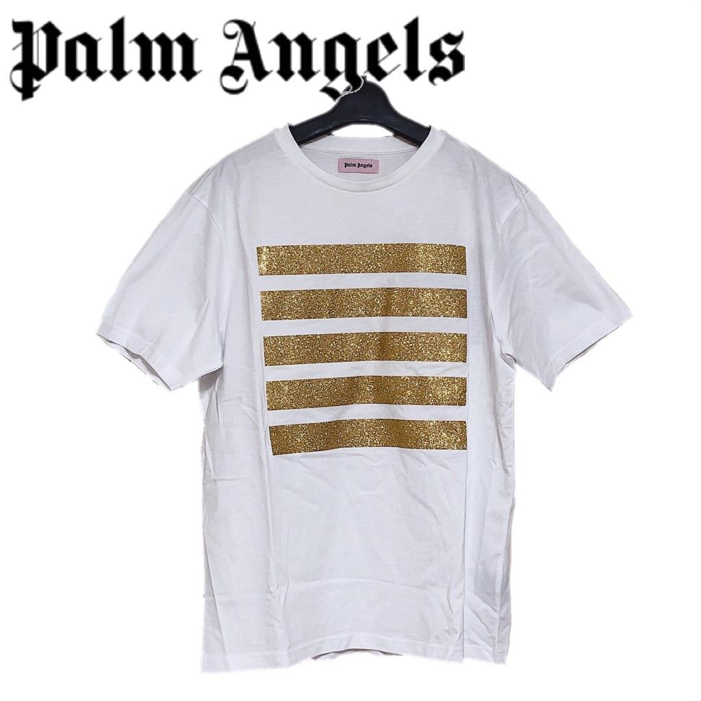 【新品】確実正規品 Palm Angels パーム エンジェルス グリッター Tシャツ ボーダー ホワイト ゴールド 金 メンズ M