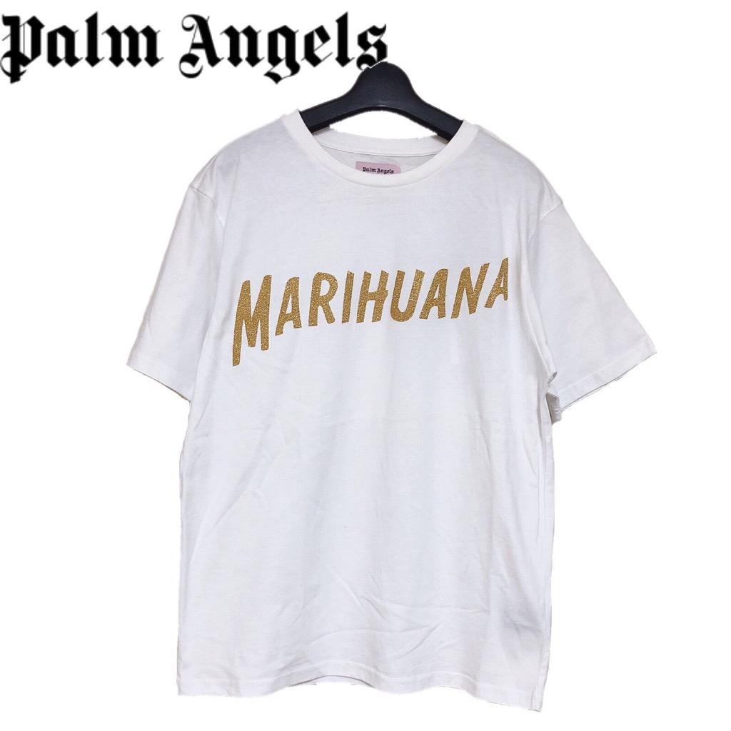 【新品】確実正規品 Palm Angels パーム エンジェルス グリッター Tシャツ 半袖 ホワイト 白 メンズ S